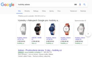 Ukázka Google nákupy SERP