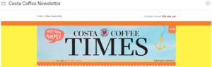 Ukázka newsletteru Costa Coffee