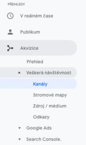 Kanály nástroje Google Analytics