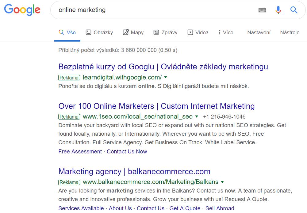 Ukázka stránky s výsledky vyhledávání - PPC reklama