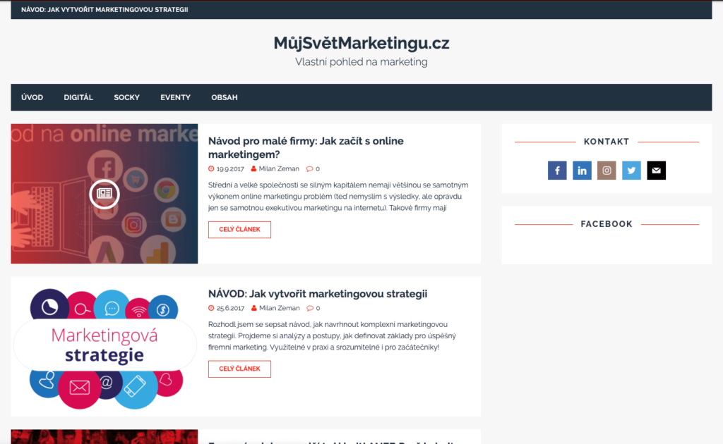 Starý design blogu Mujsvetmarketingu před redesignem